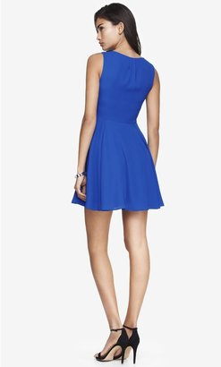 Express Pleated Keyhole Fit And Flare Dress - Blue