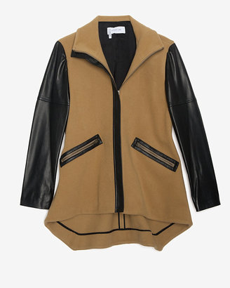 Derek Lam 10 Crosby Leather Sleeve Camel Coat