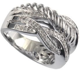 EFFY Balissima Sterling Silver Twisted Diamond Ring