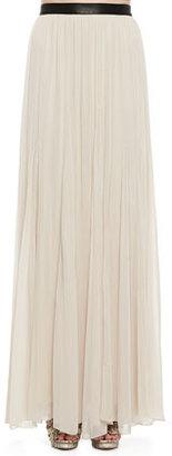 Alice + Olivia Dawn Leather-Waist Maxi Skirt