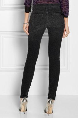 Current/Elliott The Ankle Skinny leopard-print corduroy jeans