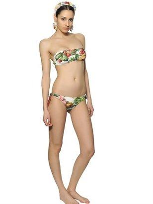Dolce & Gabbana Flower Printed Lycra Bandeau Top Bikini