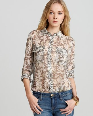 Equipment Blouse - Butterfly Printed Chiffon Slim Signature