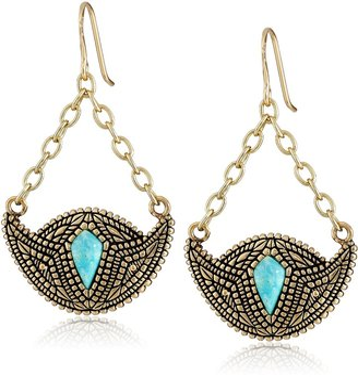 Barse Village Turquoise Bronze-Color Crescent Drop Earrings