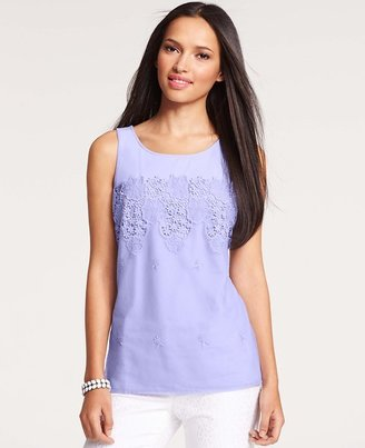 Ann Taylor Placed Lace Stretch Cotton Shell