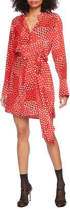 Diane von Furstenberg Nomie Dotted Crepe de Chine Mini Shirtdress