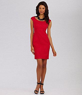 T Tahari Pepita Textured Cap-Sleeve Dress