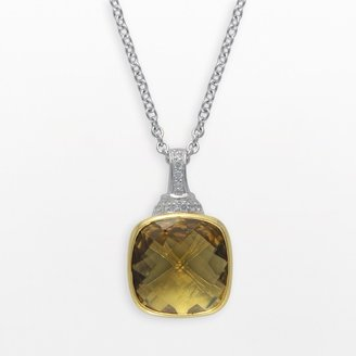 Siri Usa By Tjm SIRI USA by TJM 14k Gold Over Silver & Sterling Silver Champagne Quartz & Cubic Zirconia Pendant
