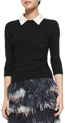 Milly Lace-Collar Pullover Sweater