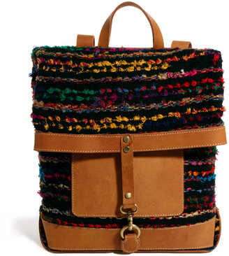 Asos Backpack With Stripey Weave And Leather