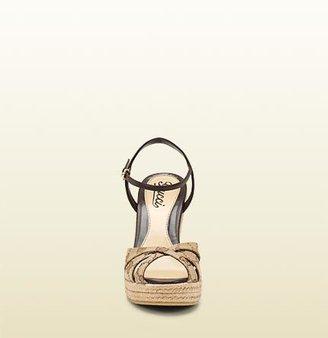 Gucci Penelope Open-Toe Espadrille Wedge Sandal
