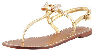 Tory Burch Bryn Pave-Bow Thong Sandal, Gold