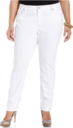 Levi's Plus Size Jeans, Midrise Skinny, White Reflection Wash
