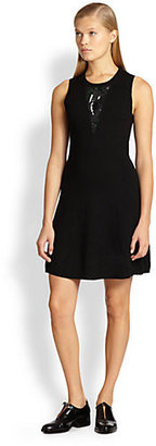 3.1 Phillip Lim Sequined Silk-Paneled Wool Sweater Dress