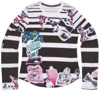 Diesel Girls 7-16 Tami Long Sleeve Stripe Shirt