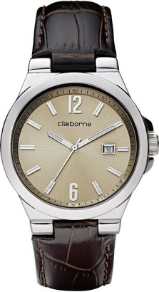 Claiborne Mens Brown Leather Strap Watch