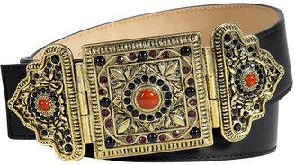 Etro Black Belt With Oriental Crystal Embellished Buckle