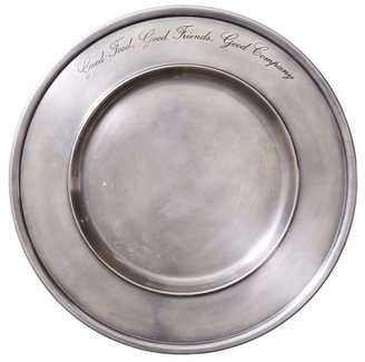 Pottery Barn Antique Silver Sentiment Charger