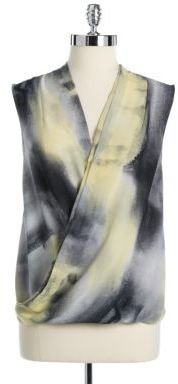 DKNY Sleeveless Brushed Print Wrap Top