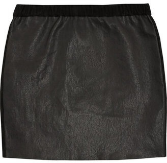 Isabel Marant Diamon suede-trimmed stretch-leather mini skirt