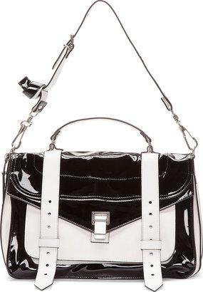 Proenza Schouler Medium Black Patent & White Matte Leather PS1 Messenger Bag