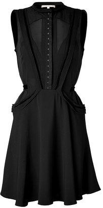 Vanessa Bruno Crepe Et Velours Patche Dress Noir