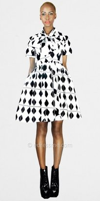Diamond Print Bow Party Dresses from Demestiks NYC by Reuben Reuel