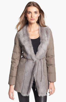 Fabiana Filippi Genuine Shearling Collar Puffer Coat