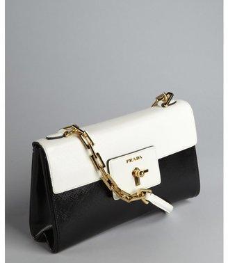 Prada black and white crosshatched leather chain strap turn lock shoulder bag