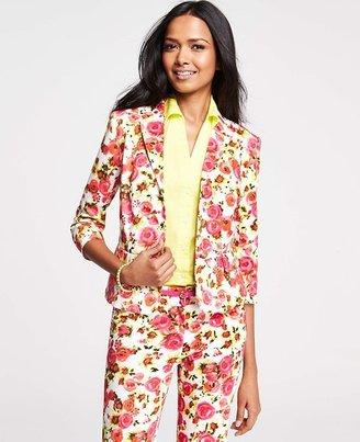 Ann Taylor Tall Pastel Blooms Print Stretch Cotton Jacket