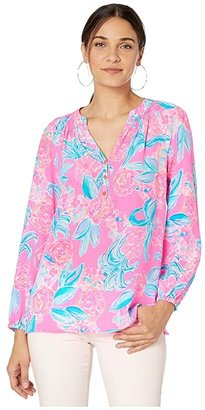 Lilly Pulitzer Elsa Top (Prosecco Pink Pinking Positive) Women's Blouse