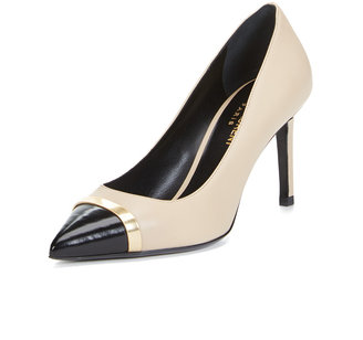 Leather Cap-Toe Metallic Accented Pump