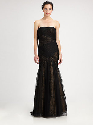 Monique Lhuillier ML Strapless Mesh-Covered Lace Gown