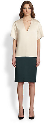 The Row Joanie Colorblock Satin Dress