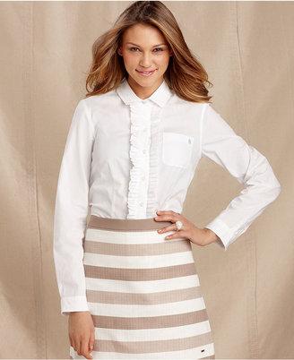 Tommy Hilfiger Shirt, Long-Sleeve Ruffled Cotton