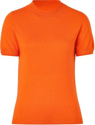 Jil Sander Navy Mandarin Silk and Cashmere Blend Knit Top