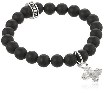 "King Baby ""Cross"" Onyx Bead Bracelet with Pave Cubic Zirconia Baby MB Cross $180 thestylecure.com"