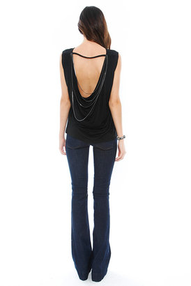 Haute Hippie T with Cowl Back + Chains in Black