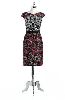 dav DAVID MEISTER Cap-Sleeved Printed Dress