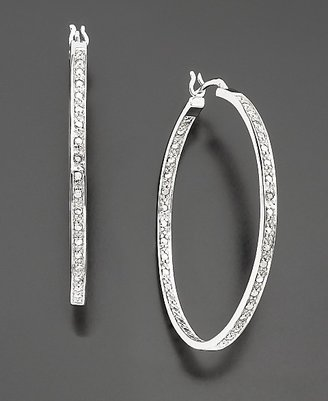 Platinum over Sterling Silver Diamond Accent Hoop Earrings
