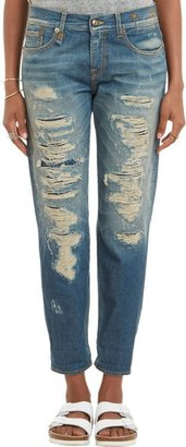 """R 13 Relaxed Skinny"""" Jeans-Blue"""