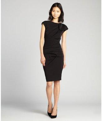 Nicole Miller black ruched waist cap sleeve 'Grenada' stretch knit dress