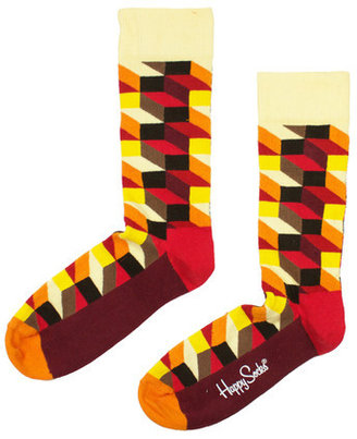 Happy Socks Crew Socks Geometric Orange