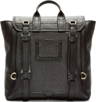 3.1 Phillip Lim Black Pebbled Leather Pashli Backpack