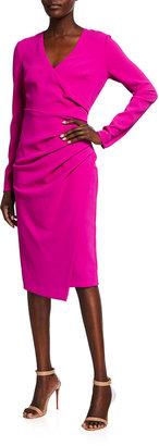Badgley Mischka Long Sleeve Side-Draped Crepe Sheath Dress