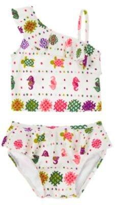 Crazy 8 Ruffly Batik Two-Piece Swimsuit