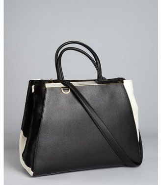 Fendi black leather and calf hair '2Jours Elite' convertible tote