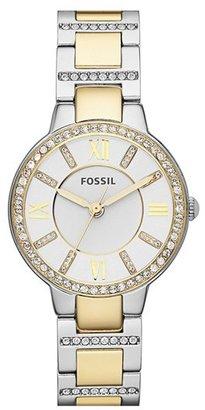 Women's Fossil 'Virginia' Crystal Bezel Bracelet Watch, 34Mm $125 thestylecure.com