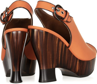 Proenza Schouler Neoprene-finished leather and wooden wedge sandals