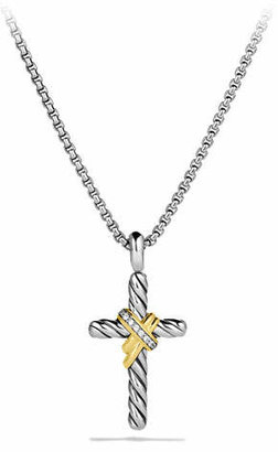 David Yurman X Cross with Diamonds and Gold on Chain